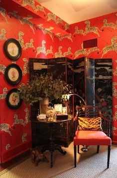 Scalamandre Zebras in the Kips Bay Showhouse are toned down by a chinoiserie folding screen!