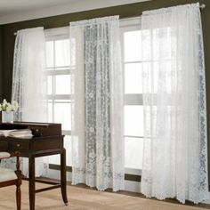 Shari lace curtains, in linen. Can't decide if I want to put the valance over a lace panel, or over a balloon shade.