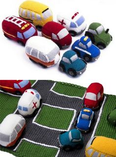 Knitting Patterns for Vehicle Play Set With Mat - #ad Too cute! This exclusive car toys and playmat designed by the fantastic Amanda Berry includes patterns and yarn for Ambulance, Post Van, Tractor, Car, Police Car, Camper Van, Bus, and Fire Engine. Choose between large or small road play mat.