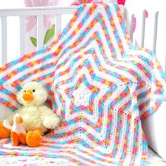 Let a little baby shine bright like a star with an easy crochet baby blanket. The Shine Bright Star Baby Blanket is as special as any star in the sky. Baby Afghans, Crochet Afghans, Crochet Star Blanket, Star Baby Blanket, Crochet Stars, Crochet Motifs, Easy Crochet, Knit Crochet, Blanket Yarn