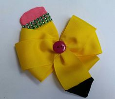 Check out this item in my Etsy shop https://www.etsy.com/listing/244312601/girls-back-to-school-yellow-pencil-hair