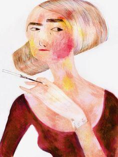 Scarlette by Emilie Leduc Disney Characters, Fictional Characters, Sky, Illustrations, Art Prints, Disney Princess, Pictures, Painting, Color