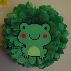 Tissue pom poms - Green Frog Party pom - Birthday, shower decoration