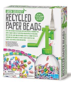 This crafty kit offers kids an eco-friendly way to get creative! It includes a bead-winding tool that turns ordinary paper strips into a tight bead that can then be used to create truly one-of-a-kind necklaces, bracelets, anklets and more.   CHOKING HAZARD: Small parts. Not for children under 3 years