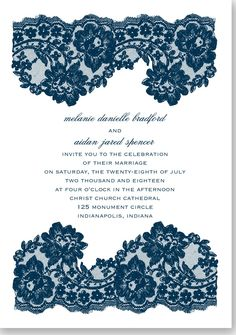A classic lace invitation is a timeless wedding tradition.