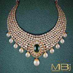 Polki choker with south sea pearls and emerald. #polki #luxury #traditional #jewellery #emerald #pearl #choker