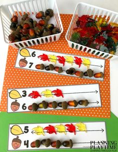 Preschool Math Mats - Count and Compare. Looking for fun fall counting mats for kids? Check out these 8 hands-on, interactive counting games for kids. Easy prep, great for fine motor and lots of fun. Montessori Preschool, Fall Preschool, Preschool Curriculum, Kindergarten Math, Montessori Elementary, Preschool Education, Autumn Activities, Preschool Activities, Tree Study