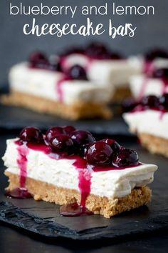 Blueberry & Lemon Cheesecake Bars - These super-simple no-bake cheesecake bars make a great dessert!