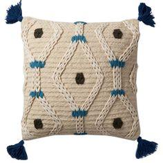 Justina Blakeney × Loloi Ivory/Blue Throw Pillow Set of 2 – Paynes Gray Modern Throw Pillows, Blue Throw Pillows, Wool Pillows, Throw Pillow Sets, Outdoor Throw Pillows, Accent Pillows, Decorative Throw Pillows, Sofa Throw, Handmade Pillows