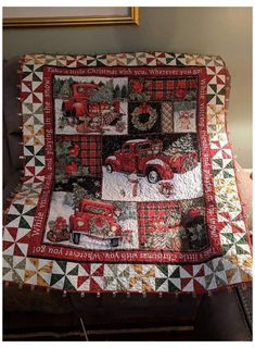 Fabric Panel Quilts, Christmas Red Truck, Country Christmas, Christmas Ideas, Christmas Quilt Patterns, Christmas Sewing, Christmas Quilting Projects, Patchwork Quilting, Patchwork Patterns