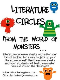 A Monster inspired Literature Circles packet that can be used throughout the school year, or can be used for one book (maybe a fantasy one) or one ...
