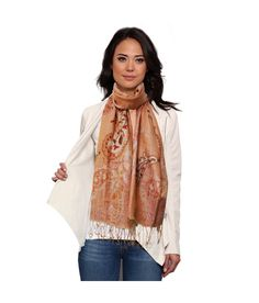 Super Drool Paisley Embroidered and Embellished Silk Stole for Women