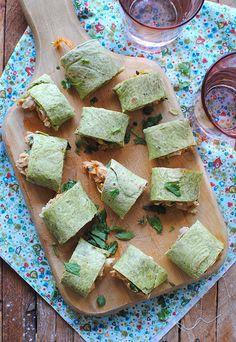 Baked Chicken & Cheese Pinwheels - use Green Tortillas for St. Paddy's Day