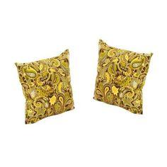 Martha Stewart Living Charlottetown Green Bean Outdoor Throw Pillow  (2 Pack), Green Fabric/T Spun