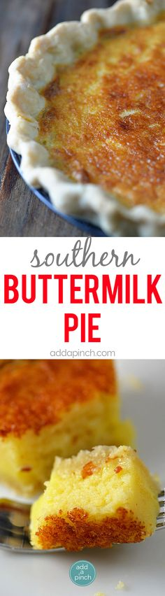 Southern Buttermilk Pie Recipe - Buttermilk Pie is a classic pie recipe well loved for generations in my family. A custardy pie that comes together quickly and easily with a light texture and a slight tangy flavor. // addapinch.com