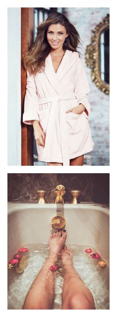 Pink fleece robe from Adore Me Lingerie