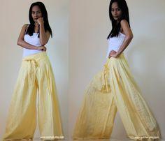 Light Yellow Wide Leg Pants Cotton Linen Casual Wear :  Soul of the Orient Collection. $58.00, via Etsy.