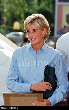 August 9, 1997: Diana, Princess of Wales arriving at Sarajevo airport on a tour to publicize the international problems of land mines.