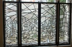 Cubism-inspired window screen, with landmarks of London depicted in a variety of textured clear glasses, by Delia Scales / Apollo Stained Glass www.apollostainedglass.co.uk