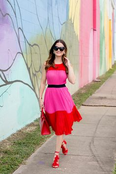 Pleated Red Pink Dress