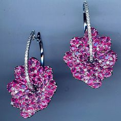 #Pink #Petals and #Diamond #Hoop #Earrings! For the #PinkAddict!