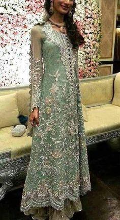 Aqua green and silver long maxi shirt Model# W 44 Indian Bridal Lehenga, Red Lehenga, Pakistani Wedding Dresses, Indian Dresses, Lehenga Choli, Indian Outfits, Sharara, Indian Clothes, Desi Wedding Dresses