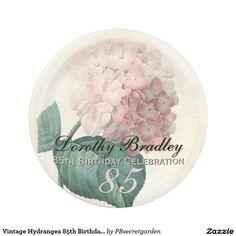 Vintage Hydrangea 85th Birthday Party Paper Plates