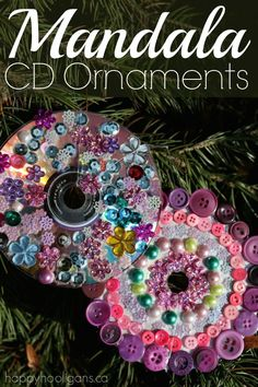 Mandala CD Ornaments - have the kids turn your old, scratched cds and dvds into beautiful mandala decorations for the Christmas tree. A calm, relaxing art project for art class, craft camp or as a party activity. Great for toddlers, preschoolers and old Christmas Art Projects, Craft Projects For Kids, Christmas Crafts For Kids, Christmas Activities, Diy Christmas Ornaments, Holiday Crafts, Kids Crafts, Christmas Trees, Snowman Ornaments