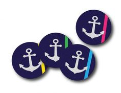 The perfect girl for your nautical loving friend,  this set of 4 coasters features anchors on top of a navy background with a pop of neon.  This unique set of 4 coasters is made from 100% recycled rubber and won't slip or scratch your surfaces. Made in the USA.