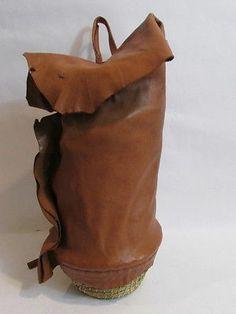 Handmadae Moroccan Brown Leather Tassel Basket Purse Backpack