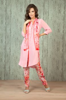 W16-02- Linen kurti with crepe digital print trouser and scarf