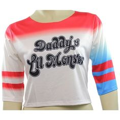 Harley Quinn T-shirt Daddy's Lil Monster Shirt Costume ($22) ❤ liked on Polyvore featuring costumes, harley quinn halloween costume, monster costume, monster halloween costumes and harley quinn costume