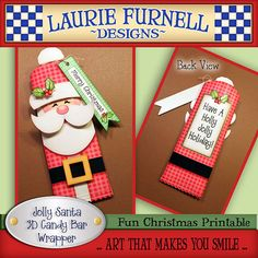 I love this! - Jolly Santa Candy Bar Wrapper by lauriefurnelldesigns on Etsy, $2.25 for digitial download.  I might just use this design for crafting next year.