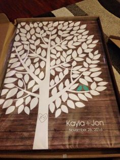 Rustic Wood Wedding Tree Canvas | Guest Book Alternative | Rustic Wedding | Customer Photo - Still Wrapped! | Wedding Color - Teal | peachwik.com