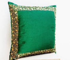 Throw Pillows - Emerald green cushion with gold sequin boarder - sequin bead pillow - 16X16 - Green pillow - gift pillow -Decorative pillows...