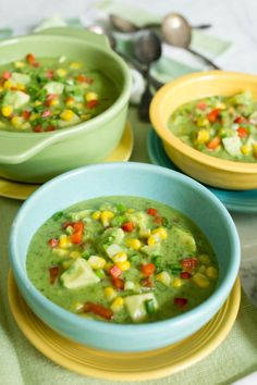 Mexican Fiesta Gazpacho with Avocado Cilantro + Sweet Summer Corn by Parsley In My Teeth