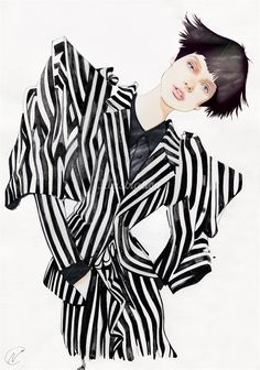 Fashion illustration - striped suit drawing // Nuno DaCosta