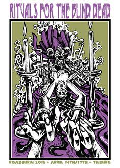 Tribute flyer Roadburn Festival. (www.danielepasquetti.it) #paskuo #danielepasquetti #flyer #doom #occult #esoteric #satan #ritual #woman #sacrificalaltar #candle #silkscreen #roadburn