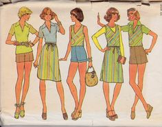 1970's Top Vest Skirt & Shorts Womens Vintage by Sutlerssundries, $7.00