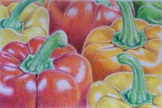 Original Colored pencil drawing of  peppers  original by SuayaArt, $70.00