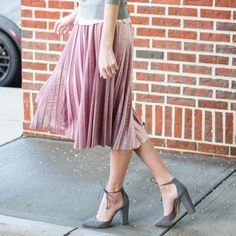 pleated, velvet skirt for only $22  Perfect for valentine's day!