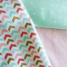 Mint Coral Gold Nursery Playroom Chevron by EthelsGranddaughter