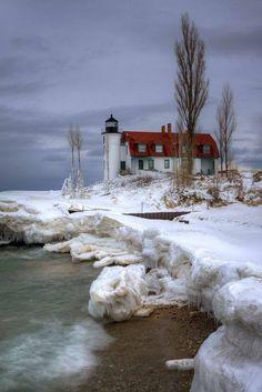 Point Betsie Lighthouse at Point Betsie near Frankfort, Michigan.