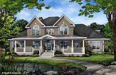 Home plan 1374 is now in progress. The Redmond has a classic farmhouse exterior with its expansive front porch and prominent gables. http://houseplansblog.dongardner.com/conceptual-design-1374-two-story-farmhouse/. #Farmhouse #NowInProgress #HomePlan
