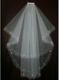 Wedding Veils - $19.99 - Two-tier Fingertip Bridal Veils With Cut Edge/Beaded Edge  http://www.dressfirst.com/Two-Tier-Fingertip-Bridal-Veils-With-Cut-Edge-Beaded-Edge-006035428-g35428