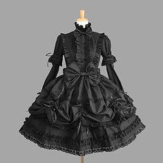 manches longues au genou coton noir gothique lolita robe avec dentelle – EUR € 51.14