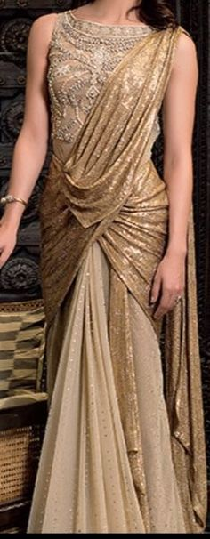 Saree gown from Tarun Tahiliani Collection – Panache Haute Couture Arab Fashion, India Fashion, Fashion Women, Indian Attire, Indian Wear, Indian Dresses, Indian Outfits, Moda Indiana, Saree Gown