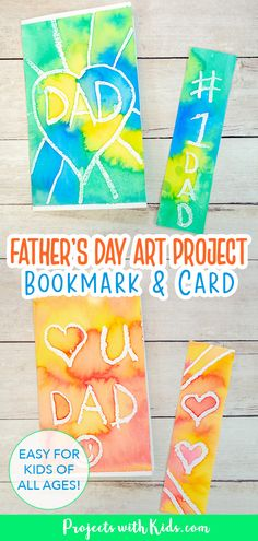 Kids will love to make this colorful Father's Day bookmark and card set for their dad or grandpa as a special handmade gift. A super easy watercolor art project for kids of all ages! Art Activities For Kids, Craft Projects For Kids, Activity Ideas, Arts And Crafts Projects, Fathers Day Art, Fathers Day Crafts, Watercolor Projects, Easy Watercolor, Painting For Kids