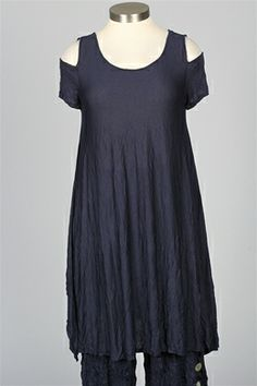 Comfy USA - Open Sleeve Tunic Dress - Navy