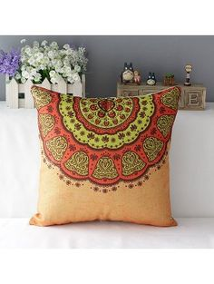 "Cotton Linen Square Decorative Throw Pillow Case Cushion Cover Beautiful Bohemian Flower Boho Pattern 18 ""X18 "" (1) ❤ Queen's designer"